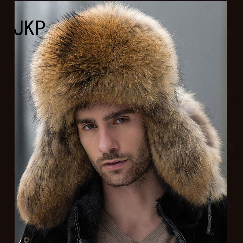 Star Fur 2018 Ekte Sølv Fox Fur Hatter Menn Real Raccoon Fur Lei Feng Cap For Russiske Menn Bomber Hatter With Leather Tops 1002