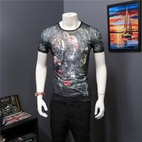 2017 European station fashion printing tide brand short-sleeved T-shirt hollow printing ice silk breathable tide men's t-shirt