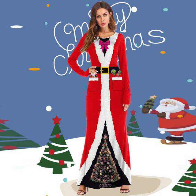 10294184fa133 FeiTong Women Dress Vintage Robe Christmas Santa Claus Costume 3D Printed  Long Dress 2019 Ladies Dresses Woman Party Night-in Dresses from Women's ...