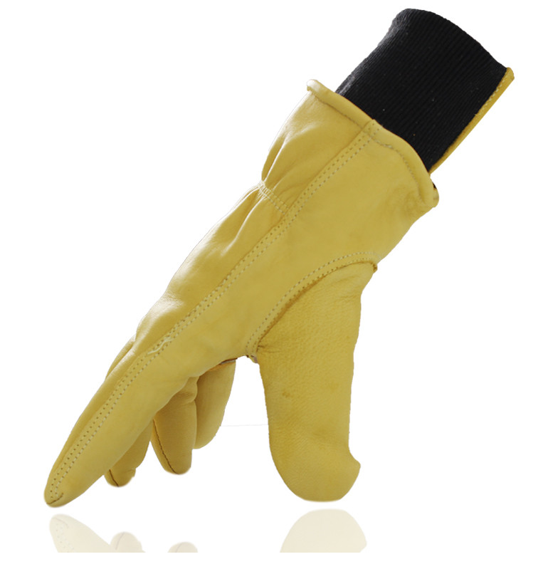 Купить с кэшбэком Free shipping two pairs of genuine leather full line protecting gloves with comfortable elastic cuff .