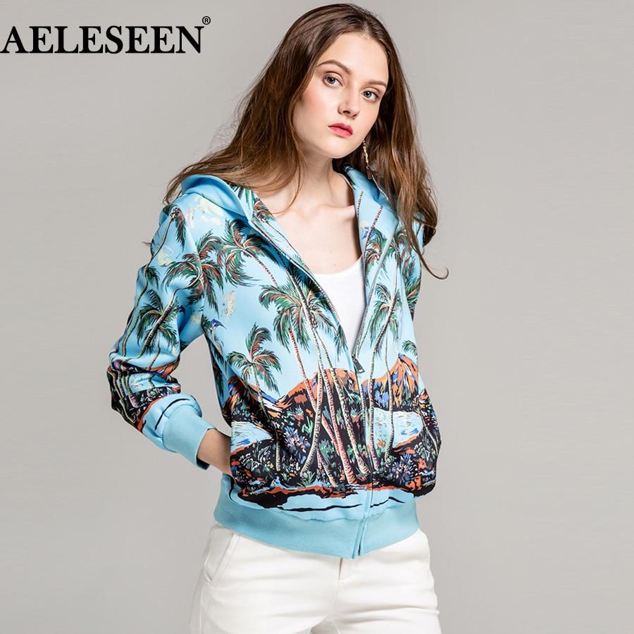 AELESEEN Designer Women Jacket 2018 Fashion Autumn Winter Tropical Hawaiian Coconut Tree Print Luxury Drawstring Hooded