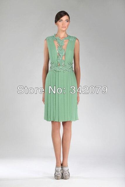 74284fab8b Ph11815 ala tony malaquita vestido verde plissado seda Georgette Crepe  bordados artesanais um entrelaçado vestidos cocktail