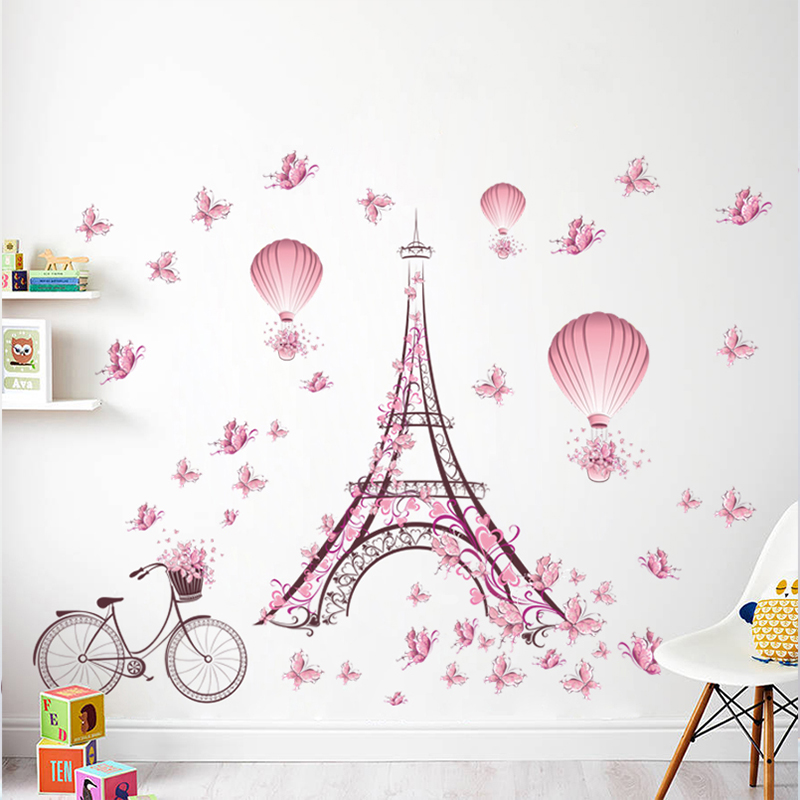 Romantic Tower Love Couple Decorative Wall Stickers Living Room Bedroom Decoration PVC Bicycle Flower Hot Air Balloon DIY Decals