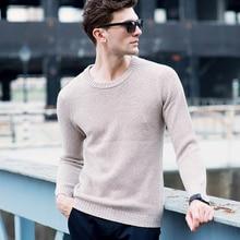 Knitted winter Causal sweater men 100% Merino Wool Solid Sweater SWAT Slim Wool Underwear Pullovers homme