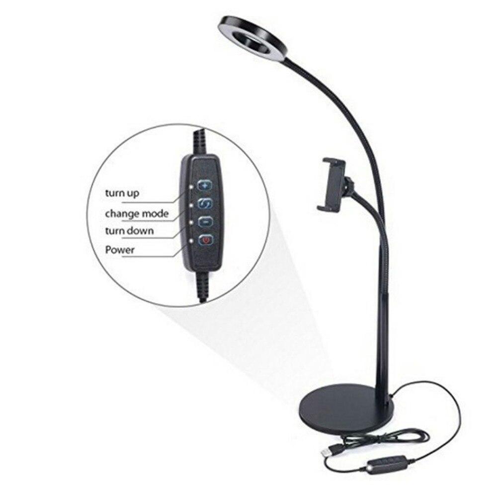2-en-1 Téléphone Portable Selfie lumière annulaire Téléphone Support à Pince pour le Flux En Direct De Bureau Réglable Lumière de Diffusion maquillage lumineux