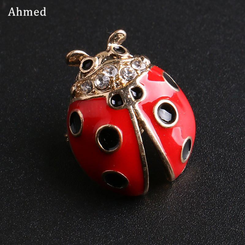 Ahmed Korean Cute Beetle Brooches For Women Men Child New Design Insect Scarf Suit Cat Clip Up Fashion Animal Corsage Jewelry