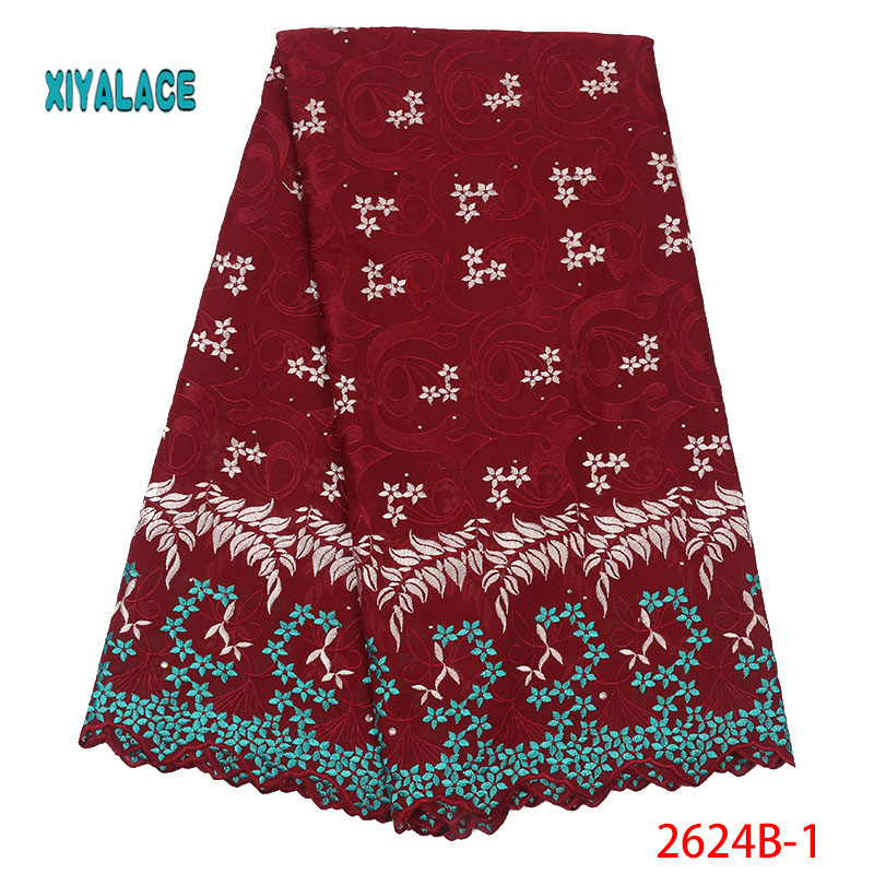 African Lace Fabric Swiss Voile 2019 High Quality Lace African Dresses For Wedding Lace Cotton Lace Party Dress YA2624B-1