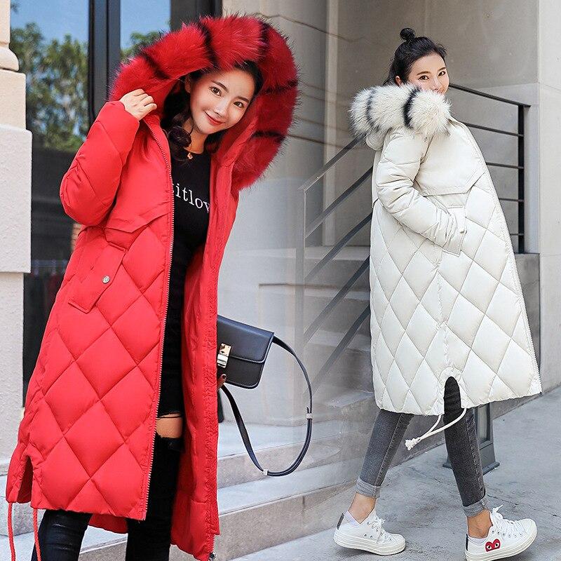 red Sur White Red gray Manteau Coton Femelle Coréenne Mince Marée Col Version black caramel Vers Grand Genou Magnifique Bas Lâche army D'hiver Noble Green rust De Et Le Fourrure Veste S16gx6