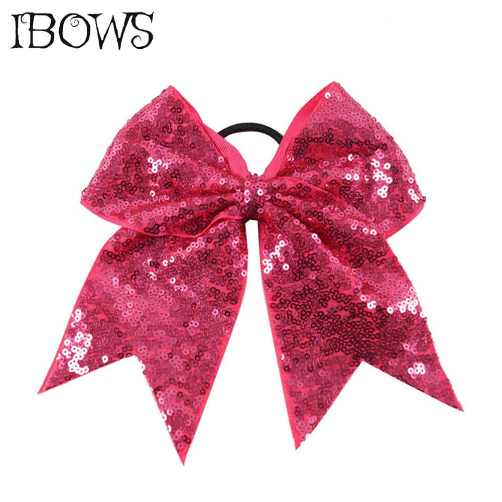 26 Colors Fashion Sequins Cheer Bow Shiny Bows With Elastic Hair Ties Sparkly Headwear For Girls Softball Competition