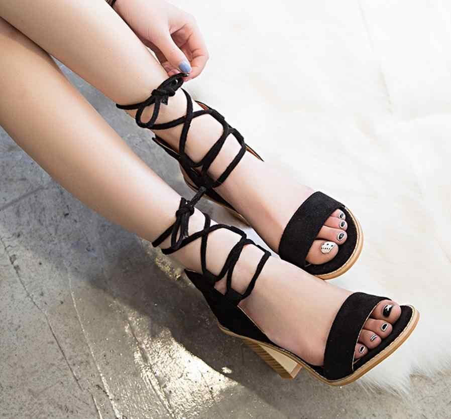 2018 Seksi Kadın Pompaları Burnu açık Lace up Topuklu Sandalet Kadın sandalet ile Kalın Kadın Ayakkabı kadın Yüksek topuklu A161