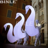 2018 new arrival 3pcs/1lot funny adult white inflatable swan animal costume with colorful led lights for dance party decoration
