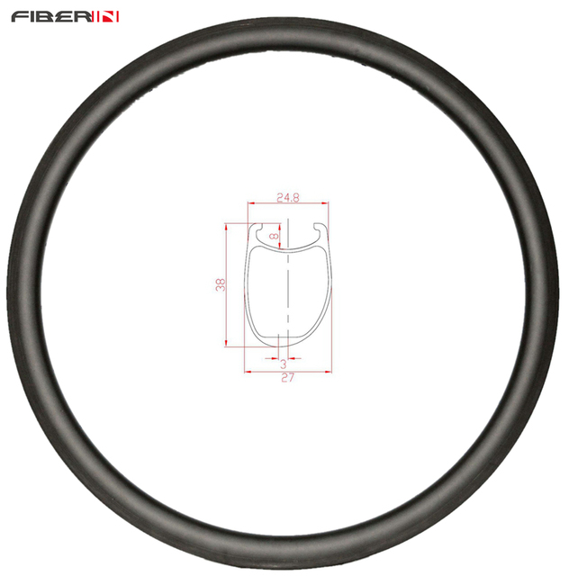 38mm asymmetric Clincher U shape road disc carbon rim 700c cyclocross wheel