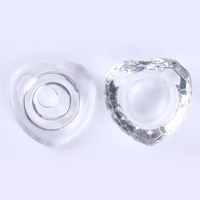 1Pc Mini Crystal Glass Cup Powder Liquid Container Heart Octangle Shape Nail Art Mini Bowl for Sequins Nail Art Manicure Tools