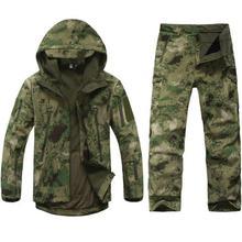 ESDY Tactical soft shell jacket Pants Hunting Sets Men Waterproof hunting Hiking Camouflage Shark Skin Jacket + Fleece Pants printio hunting for shark