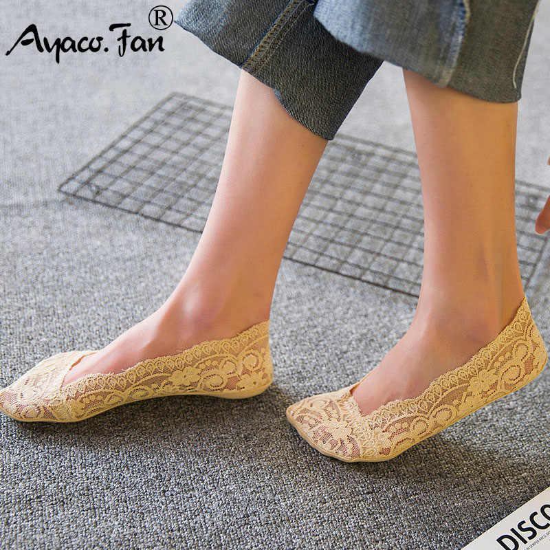 קיץ נשים ילדה סיליקה ג 'ל תחרה סירת גרביים בלתי נראה כותנה בלעדי החלקה נגד חלקה מוצק אנטי להחליק גרב 10PCS = 5Pairs