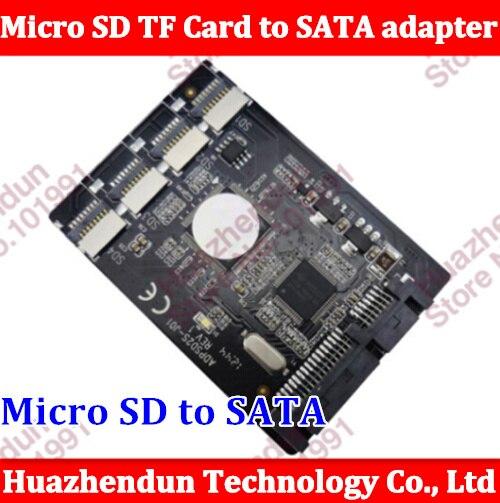Free shipping New 4 Micro SD TF Card to 22pin SATA adapter card 2.5 hdd enclosure with RAID 0 Multi TF cards to SATA converter