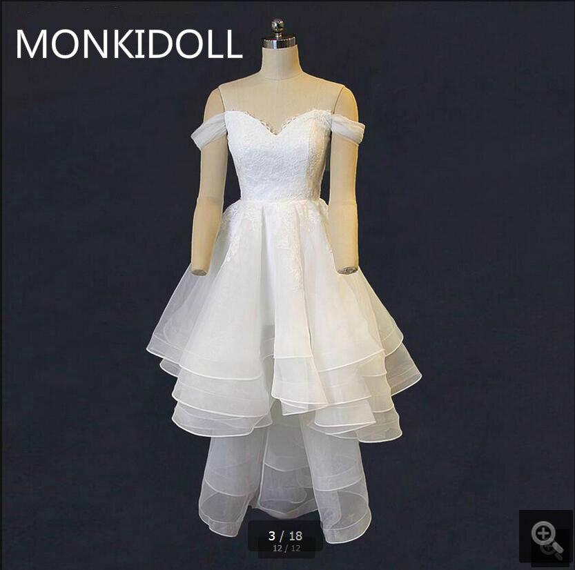 Vestido De Festa white lace high low elegant layered wedding dress off the shoulder sweetheart neckline wedding gowns cheap sale