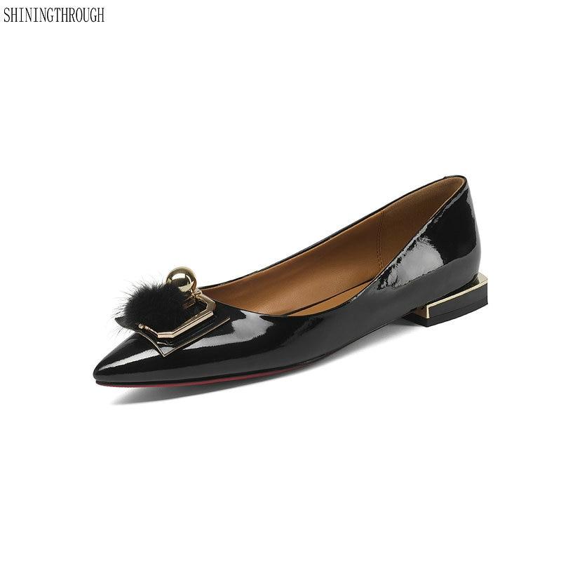 Lujo Zapatillas Genuino Zapatos Boat Mujer Tamaño Negro 33 Señaló Mujeres 43 azul Toe De Cuero Verano 2018 Planos IqBY7Utn