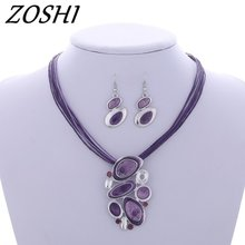 ZOSHI 2017 Jewelry sets Factory price Wholesale Drop earrings For Women Pendant necklace Leather Rope Chain set jewelry set