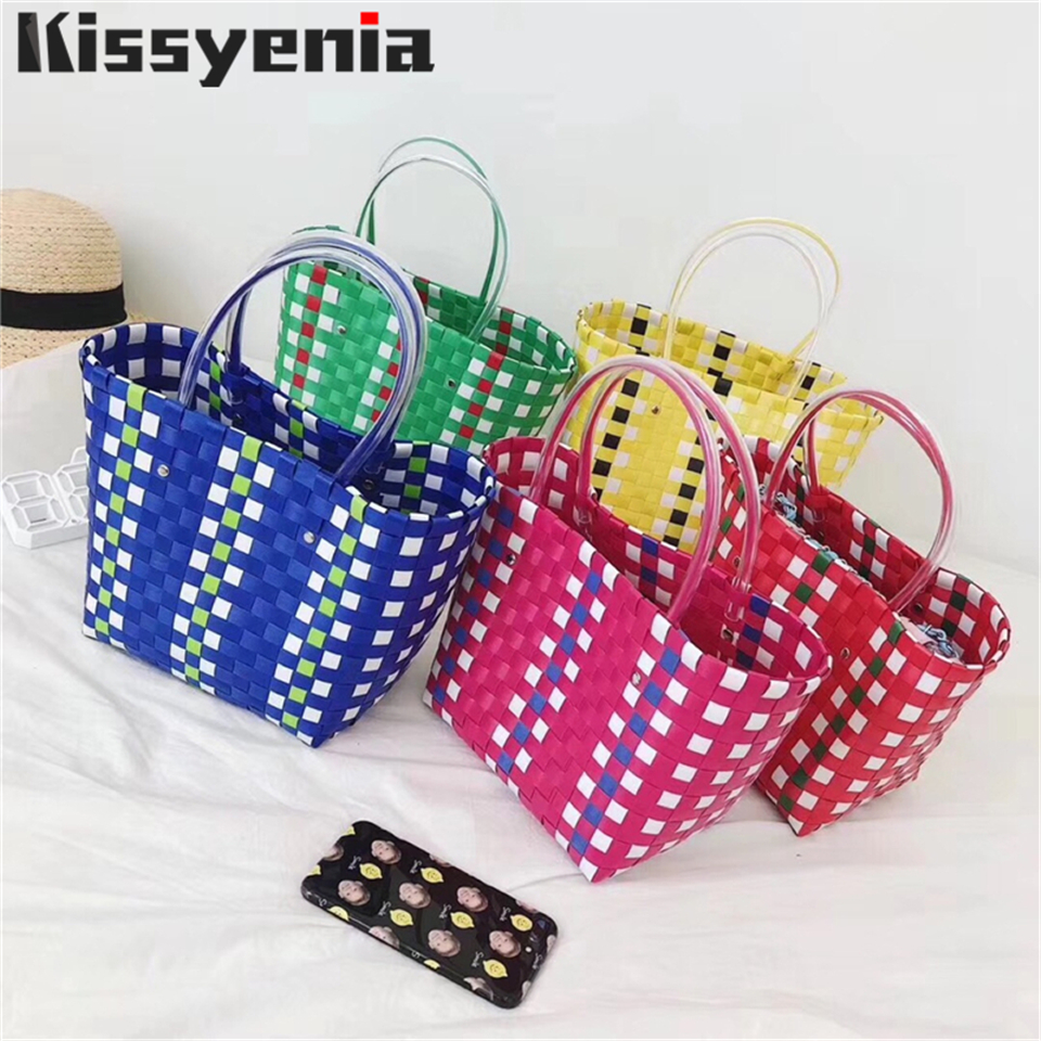 Kissyenia INS Hot Luxury Brand Logo Beach Bag Women Charity Basket Handbags Large Capacity Plaid Stitching KS1234