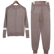 Women Sweater Pants Jumpers Top-Clothing-Sets Track-Suits Suits-And-Set Lurex Knitted