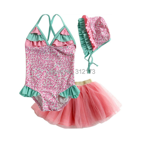 Vivo-biniya Girls Swimwear Three-Piece Bathing Suit Sleeveless Flowers One Piece+Tutu Dress +Hats Swimsuit - lianliannishang store