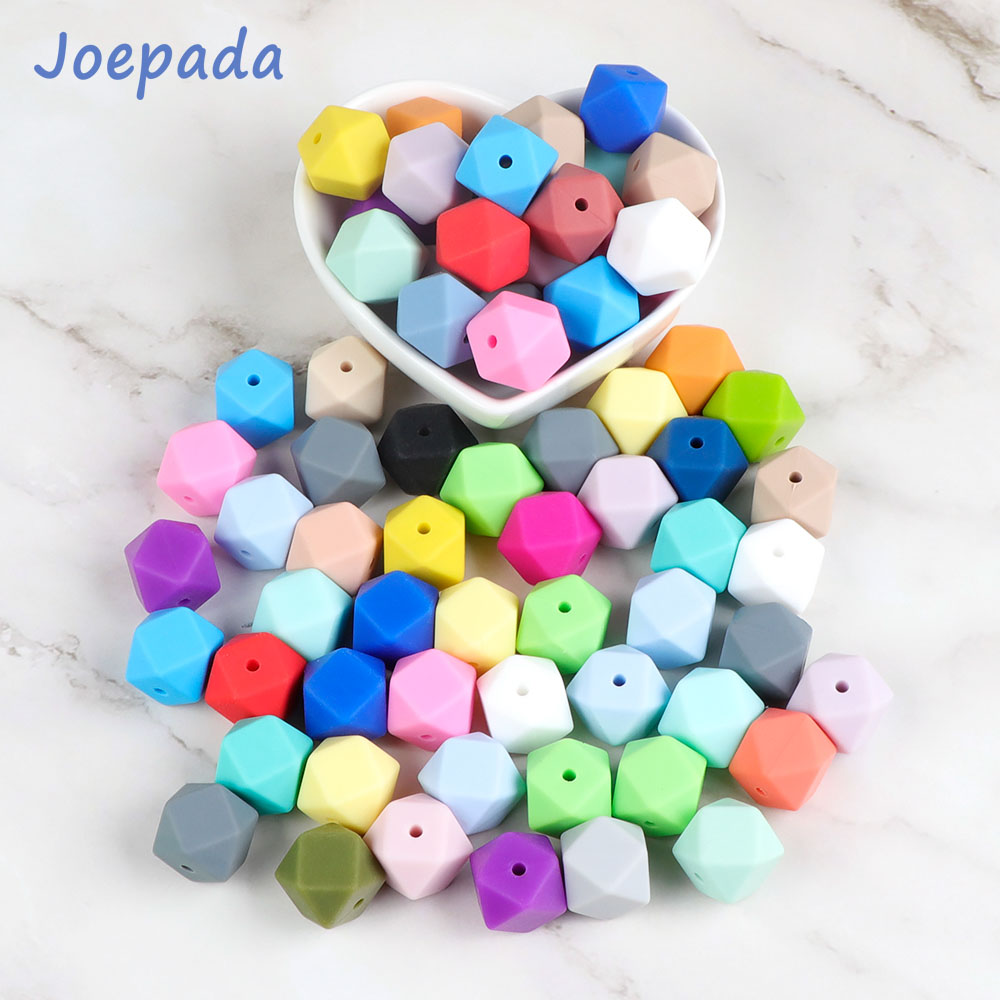 Joepada 10Pcs 14mm Hexagon Silicone Beads BPA Free Baby Teething Care Infant DIY Baby Teething Necklace Toy Baby Teether