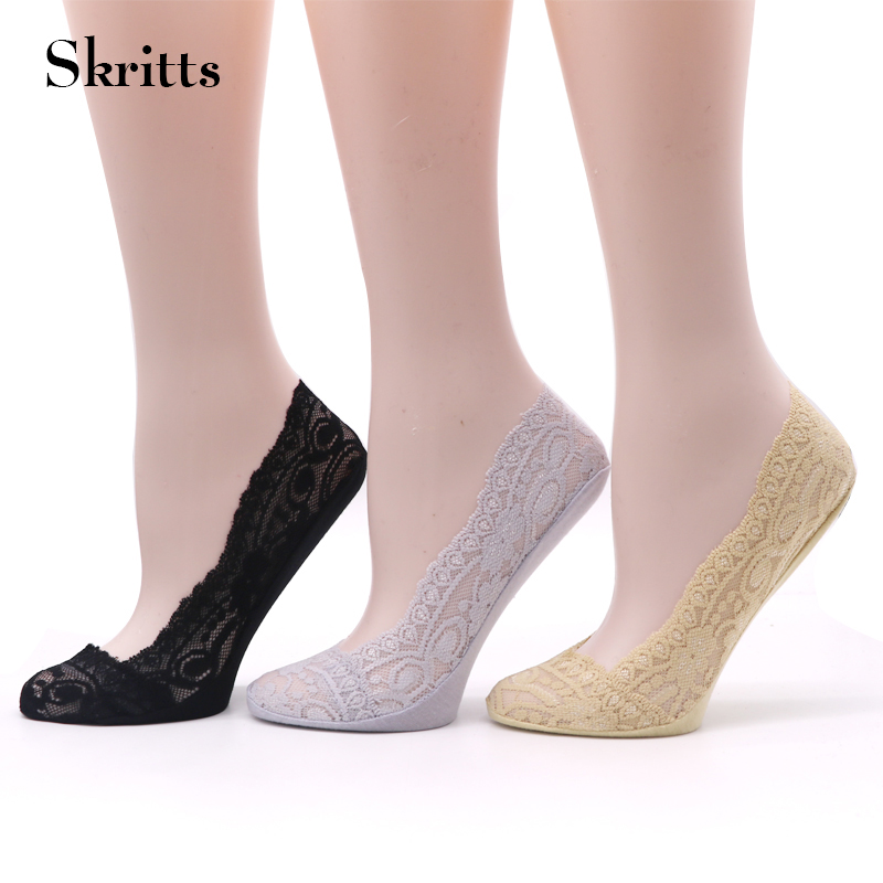 Skritts 1pair Summer Womens Boat Socks Sexy Lace Antiskid Invisible Liner Socks Cotton Female Low Cut No Show Slippers Socks ...