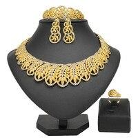 Exquisite Dubai Gold Bridal Jewelry Set Nigerian Wedding woman accessories jewelry set African Beads costume Jewelry Set