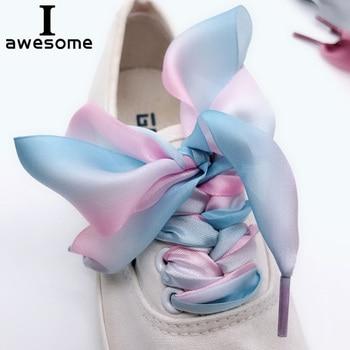 1Pair Ribbon Multicolor Shoelaces Fashion Organza Sport Shoes Sneakers Bowknot Flat 3CM Wide 3 Gradient colors