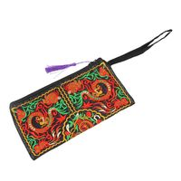 5 X New Women Wallet Embroider Purse Clutch Mobile Phone Bag Coin Bag Double Dragons