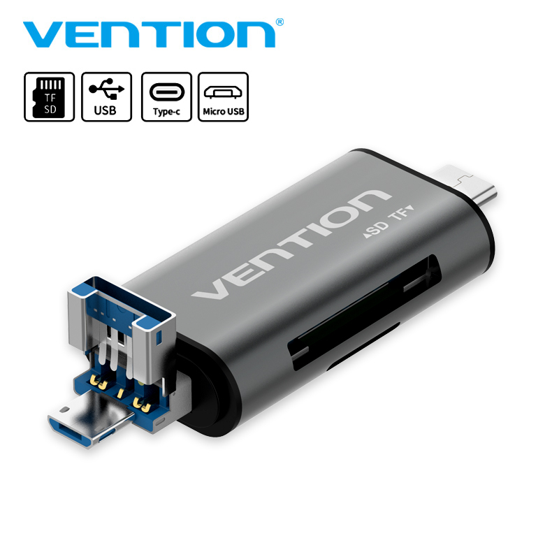 Vention All In 1 Usb 3.0 2.0 Card Reader High Speed SD TF Micro SD Card Reader Type C USB C Micro USB Memory Otg Card Reader new hot sale new red card reader high speed data transmission mini usb 2 0 micro sd tf t flash memory card reader adapter
