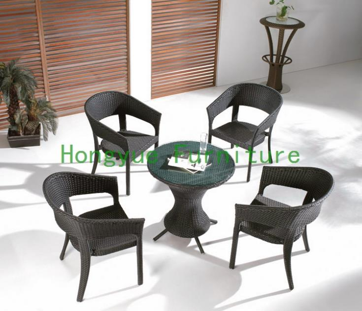 Brown new pe rattan garden set ,garden table chairs new pe rattan dining chairs with tempered glass