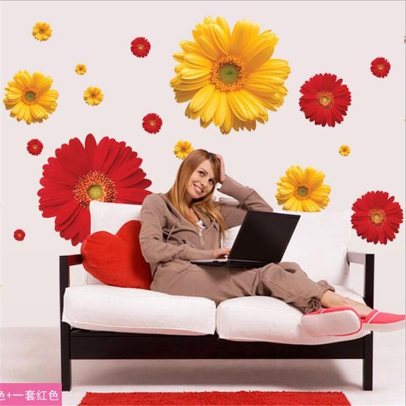 1set Daisy Flower Living Room Vinyl 3d Wall Stickers Window Decor Bedroom Wall Decals Sticker To