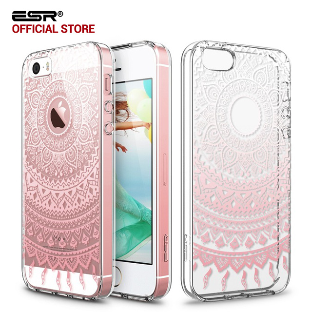 buy popular 8a18f c5485 US $6.49 |Case for iphone 5s/SE/5, ESR Totem Henna Hybrid case Clear Soft  TPU Hard Back Case printed Protective Cover for iphone SE/5s/5-in Fitted ...