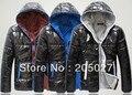 freeshipping  plus size men winter coat  men's  hoody color block wadded jacket men winter jacket  for men coat