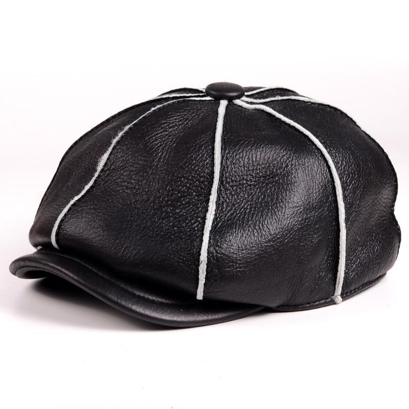 Мужские шапки из натуральной овечьей кожи, меховые шапки ручной работы, мужские зимние армейские берет газетчика/шапки