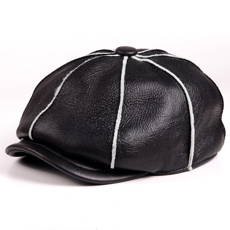 Hommes en peau de mouton véritable cuir en peau de mouton chapeaux de fourrure ouvrés à la main hommes hiver armée béret gavroche chapeaux/casquettes