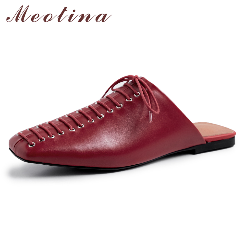 Meotina Mules Flats Shoes Women Natural Real Leather Bow Flat Casual Shoes Genuine Leather Square Toe