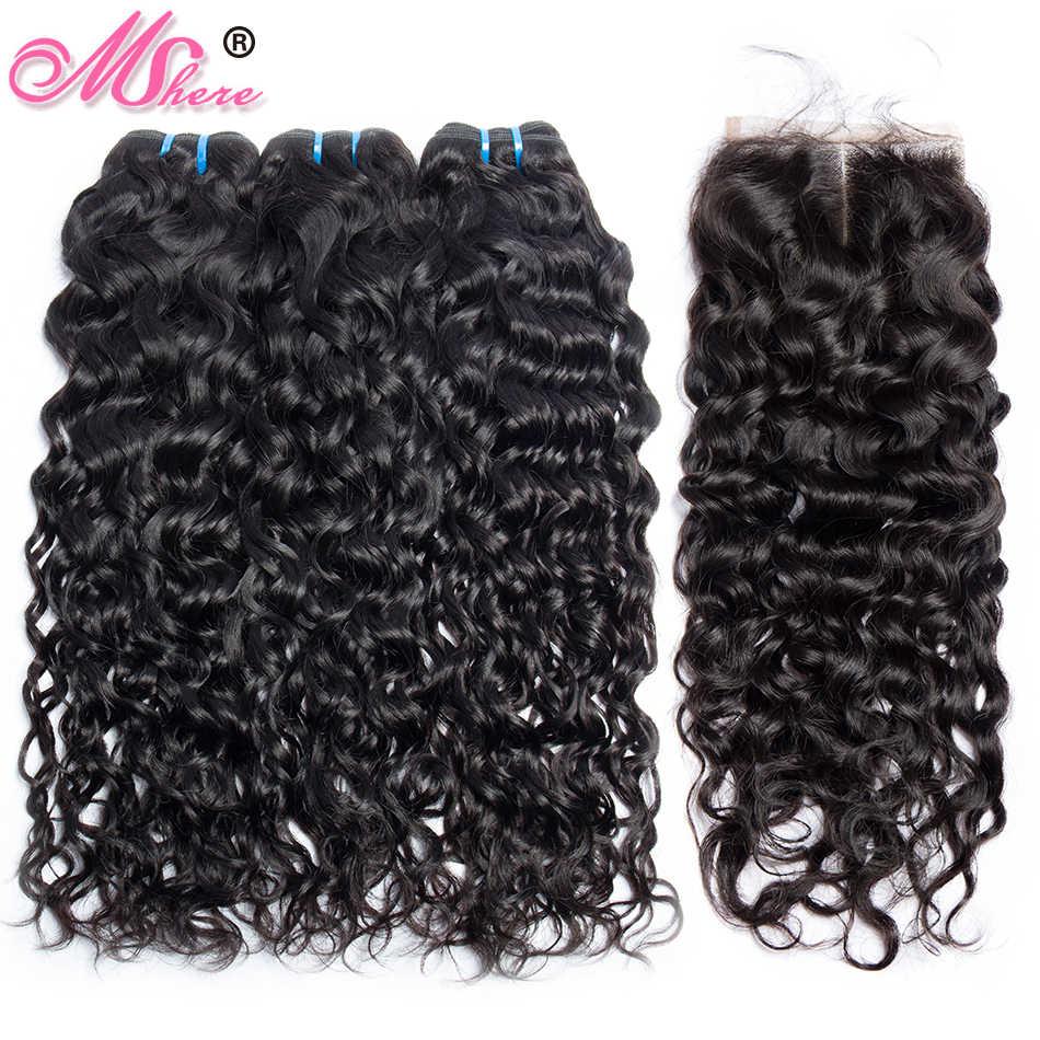 Перуанские человеческие волосы пучки с закрытием волна воды 3 пучка с кружевом Закрытие Mshere наращивание волос парик