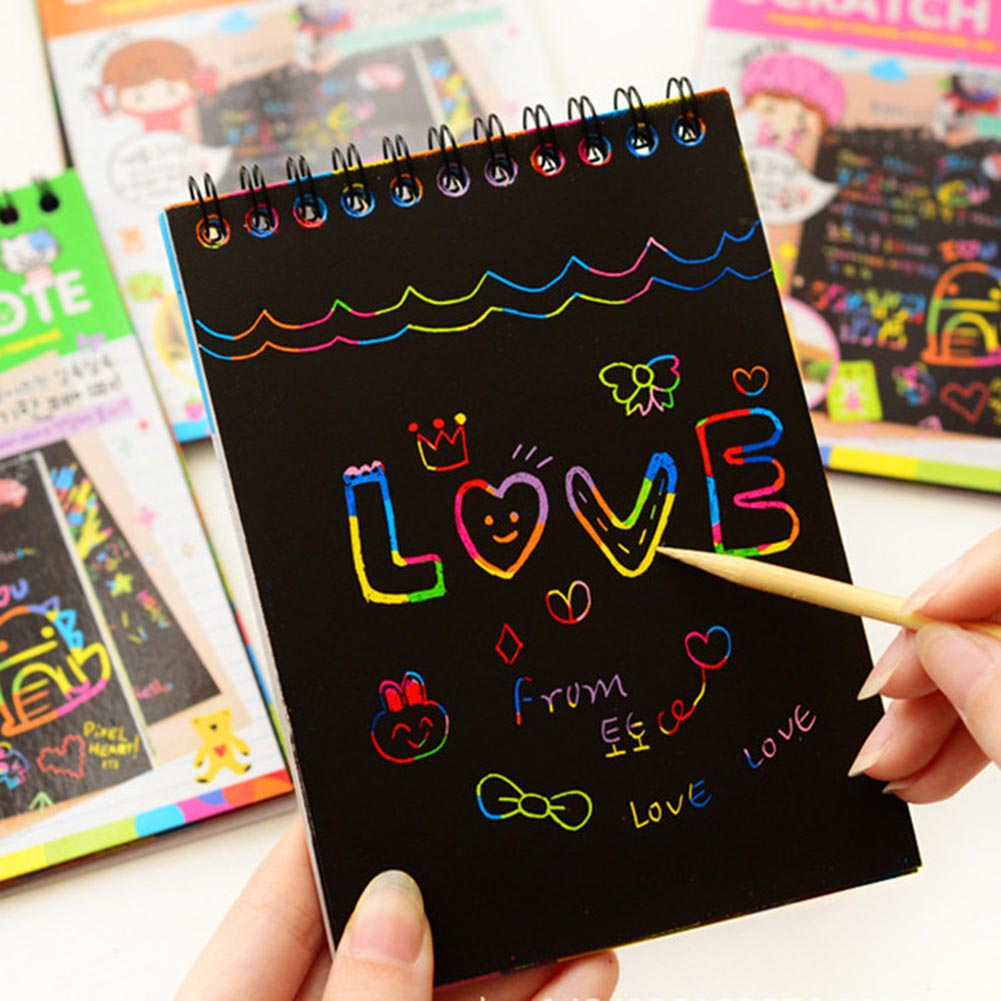 1 Pcs Magic Colorful Drawing Board Paper Painting Scraping Children Kids Learning Education Painting Doodle Scratch Supplies