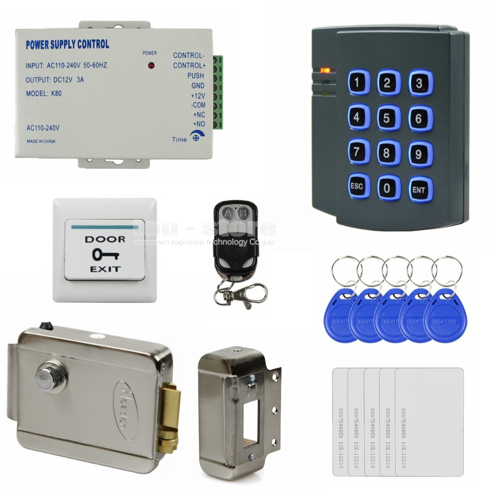 DIYSECUR Remote Control 125KHz RFID ID Card Reader Password Keypad Access Control System Security Kit + Electric Lock 2501 diysecur lcd 125khz rfid keypad password id card reader door access controller 10 free id key tag b100