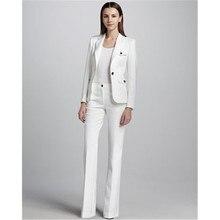 Blanco sola hebilla de negocios de las mujeres trajes mujer Oficina uniforme  boda vestido de noche de las señoras pantalones for. 501def516682
