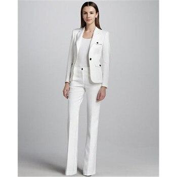 White single buckle women's business overalls female office uniform wedding evening dress ladies formal pants suit 2 piece suit
