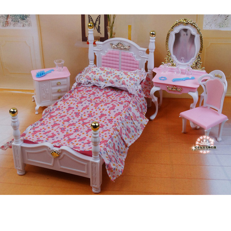 For Barbie Doll Furniture Accessories Plastic Toy Sweet Dream Princess Bed Dressing Table Chair Play House Holiday Gift Girl DIY