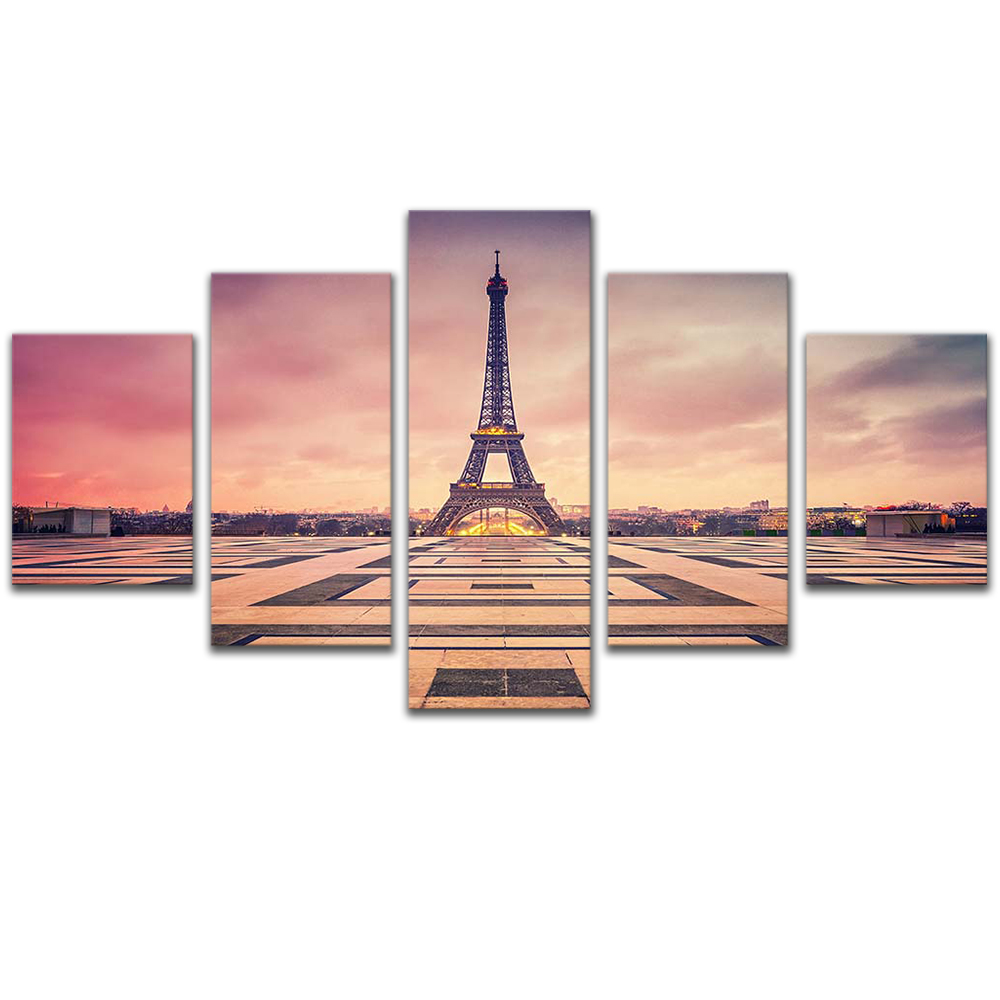 Unframed Canvas Painting Dusk Pink Sky EiffelTower Photo Picture Prints Wall Picture For Living Room Wall Art Decoration