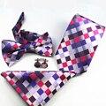 Mantieqingway Marca Ties + Bowtie + Pañuelo + Mancuernas Conjunto Diseñador Boda Vestidos Corbatas Gravatas Lazo Floral Pocket Square