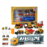 37cm Alloy Car Container Truck Model Set Diecast Pull Back Tractor with 6 Small Engineering Cars Toy for Children 1:36 Model Car