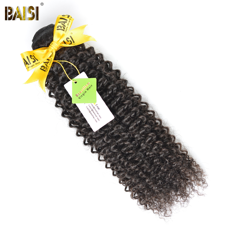 BAISI Curly Unprocessed Brazilian Virgin Hair 10-28inch 100% Human Hair Extensions Free Shipping