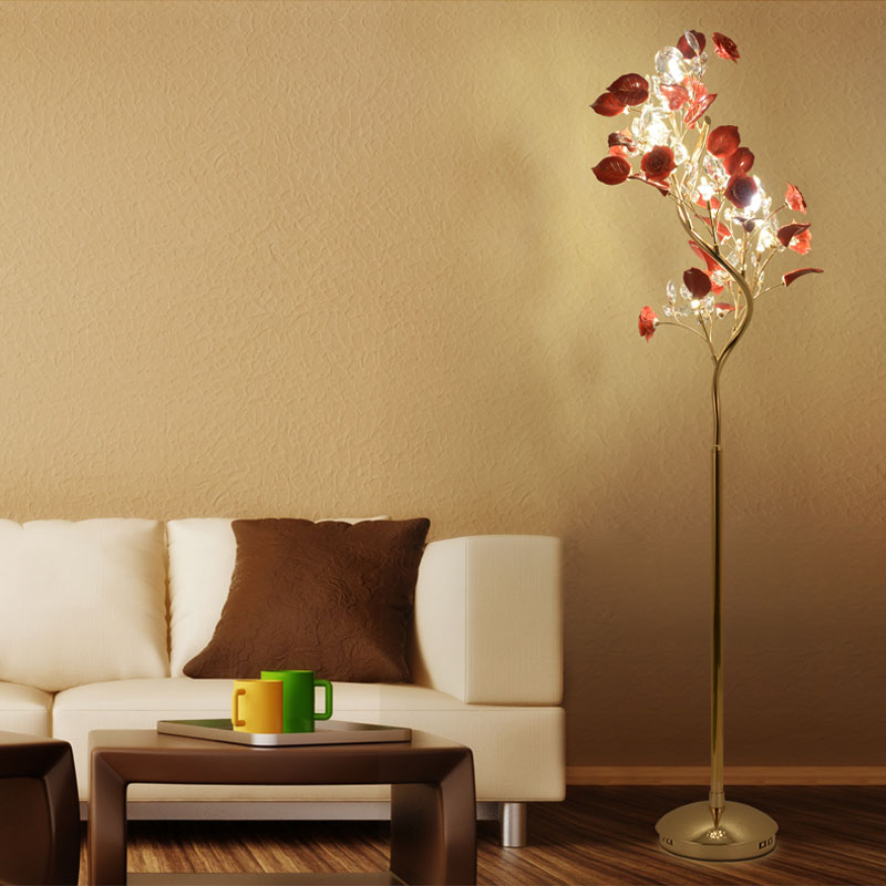 LED Christmas tree floor lamps modern wedding crystal floor lamp with ceramics flower living room Sofa floor lighting Lambader modern crystal floor lamp with fabric shade contemporary crystal floor lighting crystal floor lamps living room floor lights